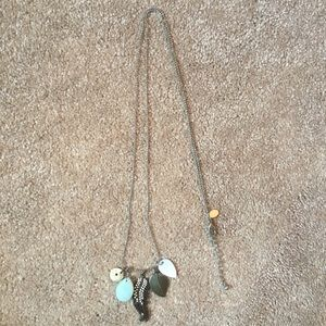 American Eagle Long silver feather necklace